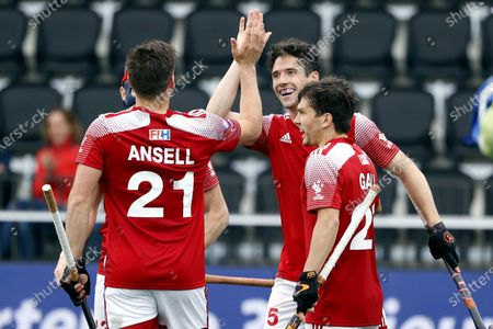 Liam Ansell (L) of England celebrates with team-mate David Ames a goal during the EuroHockey Championships 2021 Men Pool A match between England and Russia at Wagener Stadium in Amstelveen, The Netherlands, 05 June 2021.