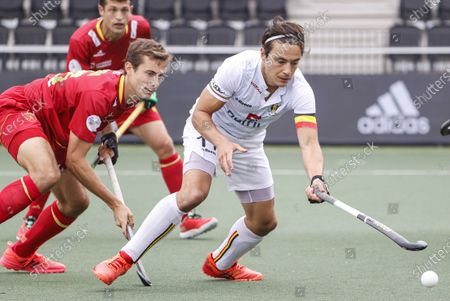 Llorenc Piera (L) of Spain and Thomas Briels of Belgium in action during the EuroHockey Championships 2021 Men Pool A match between Belgium and Spain at Wagener Stadium in Amstelveen, The Netherlands, 05 June 2021.