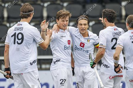 Tom Boon (2-L) Belgium celebrates with team-mates after scoring the 4-1 during the EuroHockey Championships 2021 Men Pool A match between Belgium and Spain at Wagener Stadium in Amstelveen, The Netherlands, 05 June 2021.