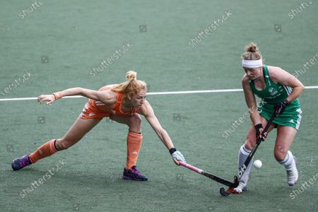 Margot van Geffen (L) of the Netherlands and Naomi Carroll of Ireland in action during the EuroHockey Championships 2021 Women Pool A match between the Netherlands and Ireland at Wagener Stadium in Amstelveen, The Netherlands, 05 June 2021.
