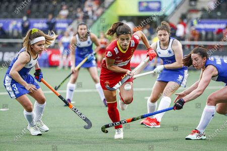 Louise Campbell (L) of Scotlandand Becky Ward (R) of Scotland in action against Lucia Jimenez of Spain during the EuroHockey Championships 2021 Women Pool A match between Spain and Scotland at Wagener Stadium in Amstelveen, The Netherlands, 05 June 2021.