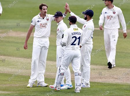 Matt Quinn (L) of Kent is congratulated after taking the wicket of Nathan Buck during Kent CCC vs Northamptonshire CCC, LV Insurance County Championship Group 3 Cricket at The Spitfire Ground on 5th June 2021
