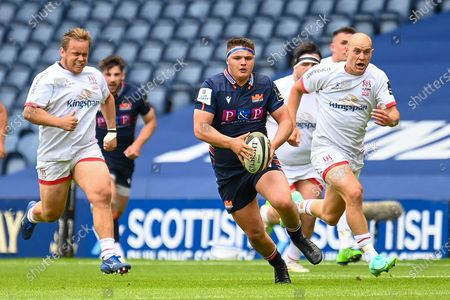 Patrick Harrison (#2) of Edinburgh Rugby looks to break clear during the Guinness Pro14 Rainbow Cup match between Edinburgh Rugby and Ulster at BT Murrayfield Stadium, Edinburgh