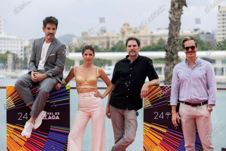 Stock Image of Miguel Rodarte, Peruvian producer and actress Stephanie Cayo, Mexican filmmaker Carlos Cuaron and US actor Tony Dalton poses for the photographers during the presentation of the film 'Amalgama', at the 24th Malaga Film Festival in Malaga, Spain, 05 June 2021. The festival runs until 13 June 2021.