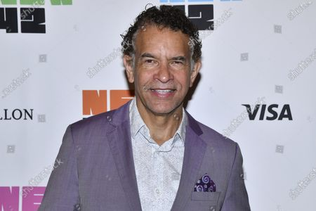 Brian Stokes Mitchell arrives at the New 42 outdoor celebration of arts education honoring the New York City Department of Education, Office of Arts and Special Projects in Times Square, in New York