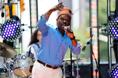 Stock Picture of Sahr Ngaujah performs at the New 42 outdoor celebration of arts education honoring the New York City Department of Education, Office of Arts and Special Projects in Times Square, in New York