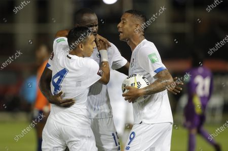 Omar Cordoba (L), Cecilio Waterman (C) and Gabriel Torres (R) of Panama celebrate a goal against Anguilla during the CONCACAF group D World Cup 2022 qualifiers soccer match between Anguilla and Panama at the Rod Carew National Stadium, in Panama City, Panama, 05 June 2021.