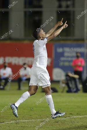 Stock Picture of Gabriel Torres of Panama celebrates a goal against Anguilla during the CONCACAF group D World Cup 2022 qualifiers soccer match between Anguilla and Panama at the Rod Carew National Stadium, in Panama City, Panama, 05 June 2021.