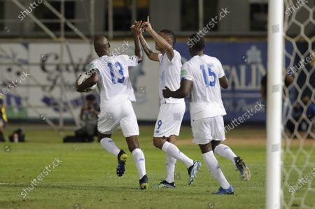 Stock Photo of Alberto Quintero (L), Gabriel Torres (C) and Cecilio Waterman (R) of Panama celebrate a goal against Anguilla during the CONCACAF group D World Cup 2022 qualifiers soccer match between Anguilla and Panama at the Rod Carew National Stadium, in Panama City, Panama, 05 June 2021.