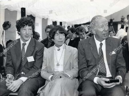 Stock Picture of 4th Baron Rothschild Right With His Wife Baroness Rothschild And His Son And Heir The Hon. Nathaniel Rothschild. Nat Rothschild Was A Member Of The Bullingdon Club When He Was At Oxford. (4th Lord Rothschild Was Formerly Jacob Rothschild)