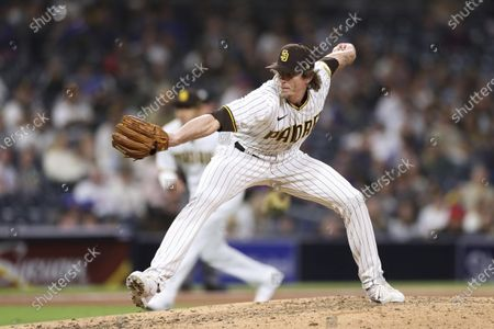San Diego Padres relief pitcher Tim Hill works in the sixth inning of a baseball game against the New York Mets, in San Diego