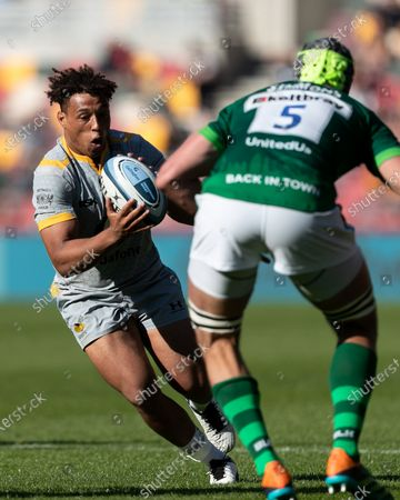 Marcus Watson of Wasps in action during the Gallagher Premiership match between London Irish and Wasps at the Brentford Community Stadium, Brentford on Saturday 5th June 2021.