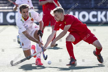 Llorenc Piera (L) of Spain and Sergey Lepeshkin of Russia in action during the European Hockey Championship men pool A match between Spain and Russia at the Wagener Stadium in Amstelveen, Netherlands, 06 June 2021.