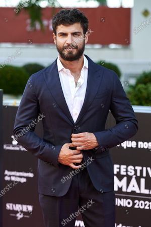 Stock Picture of Maxi Iglesias attends the Day 3, 24th Malaga Film Festival Red Carpet at Miramar Hotel in Malaga, Spain, on June 5, 2021.