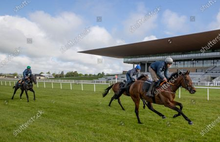 """Some of the leading contenders for this year's Dubai Duty Free Irish Derby exercised on the famous Curragh race track over the weekend as part of their preparation for the €1 million show piece, which takes place on Saturday 26th June. Aidan O'Brien was represented by High Definition, who landed the Group 2 Alan Smurfit Memorial Beresford Stakes as a two year old. The son of Galileo looked in very good order as he worked over 10 furlongs with Wayne Lordan in the saddle. Other Dubai Duty Free Irish Derby entries working on the track included the Joseph O'Brien trained Thunder Moon (Declan McDonagh) and Toshizou (Shane Crosse), while the Luke Comer trained pair of Seattle Creek and Seattle Sound were both put through their paces. Pat Keogh, Chief Executive of The Curragh, commented, """"The build up to the Dubai Duty Free Irish Derby has well and truly started and with the support of Dubai Duty Free, we were delighted to have the opportunity to invite all trainers with entries in the race to use the track over the weekend."""". The Dubai Duty Free Irish Derby Festival takes place from Friday 25th to Sunday 27th June with Saturday featuring the Dubai Duty Free Irish Derby at 3.45pm. Pictured is Cathal Gorman on Seatle Sound leading Luke Comers' horses"""