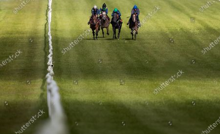 """Stock Photo of Some of the leading contenders for this year's Dubai Duty Free Irish Derby exercised on the famous Curragh race track over the weekend as part of their preparation for the €1 million show piece, which takes place on Saturday 26th June. Aidan O'Brien was represented by High Definition, who landed the Group 2 Alan Smurfit Memorial Beresford Stakes as a two year old. The son of Galileo looked in very good order as he worked over 10 furlongs with Wayne Lordan in the saddle. Other Dubai Duty Free Irish Derby entries working on the track included the Joseph O'Brien trained Thunder Moon (Declan McDonagh) and Toshizou (Shane Crosse), while the Luke Comer trained pair of Seattle Creek and Seattle Sound were both put through their paces. Pat Keogh, Chief Executive of The Curragh, commented, """"The build up to the Dubai Duty Free Irish Derby has well and truly started and with the support of Dubai Duty Free, we were delighted to have the opportunity to invite all trainers with entries in the race to use the track over the weekend."""". The Dubai Duty Free Irish Derby Festival takes place from Friday 25th to Sunday 27th June with Saturday featuring the Dubai Duty Free Irish Derby at 3.45pm. Pictured is Cathal Gorman on Seatle Sound leading Luke Comers' horses"""