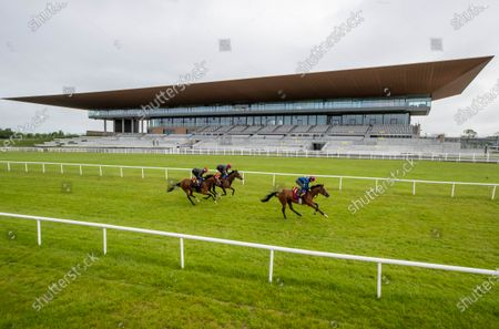 """Some of the leading contenders for this year's Dubai Duty Free Irish Derby exercised on the famous Curragh race track over the weekend as part of their preparation for the €1 million show piece, which takes place on Saturday 26th June. Aidan O'Brien was represented by High Definition, who landed the Group 2 Alan Smurfit Memorial Beresford Stakes as a two year old. The son of Galileo looked in very good order as he worked over 10 furlongs with Wayne Lordan in the saddle. Other Dubai Duty Free Irish Derby entries working on the track included the Joseph O'Brien trained Thunder Moon (Declan McDonagh) and Toshizou (Shane Crosse), while the Luke Comer trained pair of Seattle Creek and Seattle Sound were both put through their paces. Pat Keogh, Chief Executive of The Curragh, commented, """"The build up to the Dubai Duty Free Irish Derby has well and truly started and with the support of Dubai Duty Free, we were delighted to have the opportunity to invite all trainers with entries in the race to use the track over the weekend."""". The Dubai Duty Free Irish Derby Festival takes place from Friday 25th to Sunday 27th June with Saturday featuring the Dubai Duty Free Irish Derby at 3.45pm. Pictured are Shane Crosse on Toshizou and Declan McDonagh on Thunder Moon"""