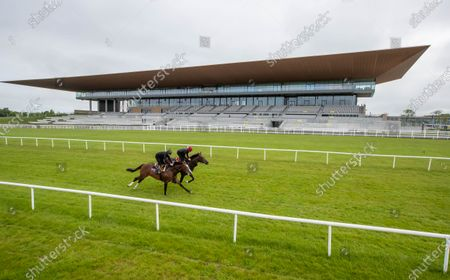 """Stock Image of Some of the leading contenders for this year's Dubai Duty Free Irish Derby exercised on the famous Curragh race track over the weekend as part of their preparation for the €1 million show piece, which takes place on Saturday 26th June. Aidan O'Brien was represented by High Definition, who landed the Group 2 Alan Smurfit Memorial Beresford Stakes as a two year old. The son of Galileo looked in very good order as he worked over 10 furlongs with Wayne Lordan in the saddle. Other Dubai Duty Free Irish Derby entries working on the track included the Joseph O'Brien trained Thunder Moon (Declan McDonagh) and Toshizou (Shane Crosse), while the Luke Comer trained pair of Seattle Creek and Seattle Sound were both put through their paces. Pat Keogh, Chief Executive of The Curragh, commented, """"The build up to the Dubai Duty Free Irish Derby has well and truly started and with the support of Dubai Duty Free, we were delighted to have the opportunity to invite all trainers with entries in the race to use the track over the weekend."""". The Dubai Duty Free Irish Derby Festival takes place from Friday 25th to Sunday 27th June with Saturday featuring the Dubai Duty Free Irish Derby at 3.45pm. Pictured are Michael Hussey on Carlisle Bay and Wayne Lordan on High Definition"""