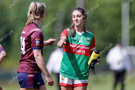 Westmeath vs Mayo. Mayo's Niamh Kelly shakes hands with Westmeath's Aine Lynn after the game