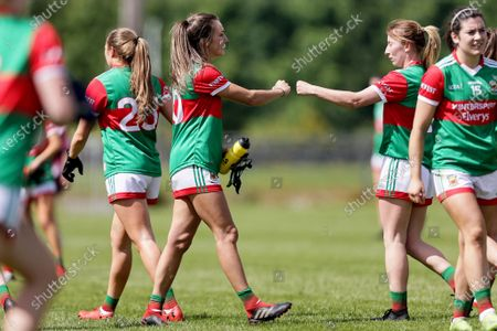 Stock Photo of Westmeath vs Mayo. Mayo's Niamh Kelly celebrates after the game with Marie Corbett