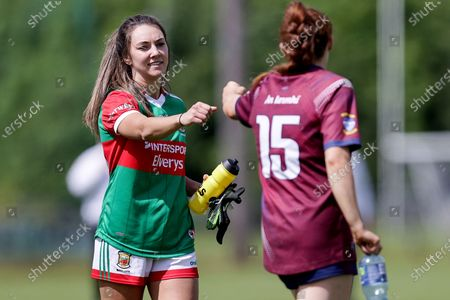 Stock Picture of Westmeath vs Mayo. Mayo's Niamh Kelly huskies hands with Westmeath's Sarah Dillon after the game