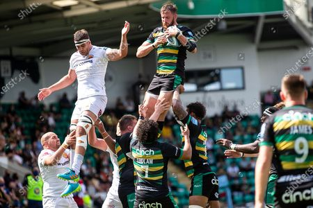 Stock Image of Tom Wood of Northampton Saints catches lineout ball during the Gallagher Premiership Rugby match between Northampton Saints and Exeter Chiefs at Franklins Gardens, Northampton