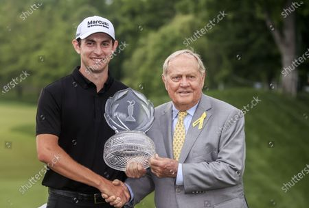 Patrick Cantlay of the US (L) poses with golf great Jack Nicklaus (R) and the winner's trophy after winning The Memorial golf tournament at Muirfield Village Golf Club in Dublin, Ohio, USA, 06 June 2021.
