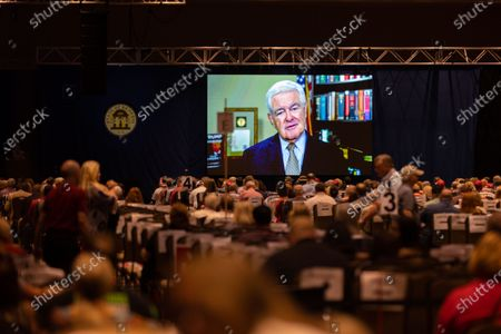 Stock Image of Former House Speaker Newt Gingrich addresses, virtually, the Georgia GOP State Convention in Jekyll Island, Georgia on June 5th, 2021.