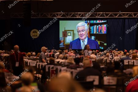 Former House Speaker Newt Gingrich addresses, virtually, the Georgia GOP State Convention in Jekyll Island, Georgia on June 5th, 2021.