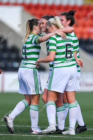 Stock Picture of GOAL 0-7 Kelly Clark (#15) of Celtic Women FC celebrates after scoring the seventh goal during the Scottish Building Society Scottish Women's Premier League 1 match between Motherwell Women and Celtic Women at Penny Cars Stadium, Airdrie