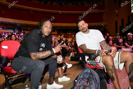 Brandon Marshall and Matt Barnes attend the weigh-in ahead of the June 6th exhibition boxing match at the Hard Rock Live at Seminole Hard Rock Hotel and Casino, June 5, 2021 in Hollywood, Florida.