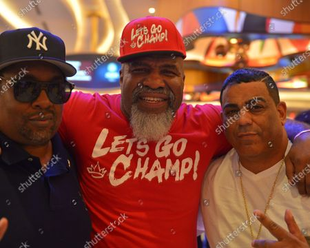 Shannon Briggs (C) attends the weigh-in ahead of the June 6 exhibition boxing match at the Hard Rock Live at Seminole Hard Rock Hotel and Casino, June 5, 2021 in Hollywood, Florida.