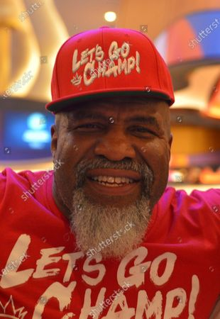 Shannon Briggs attends the weigh-in ahead of the June 6 exhibition boxing match at the Hard Rock Live at Seminole Hard Rock Hotel and Casino, June 5, 2021 in Hollywood, Florida.