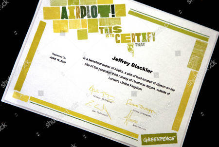 Greenpeace 'Airplot' land ownership certificate to stop Heathrow Airport third runway