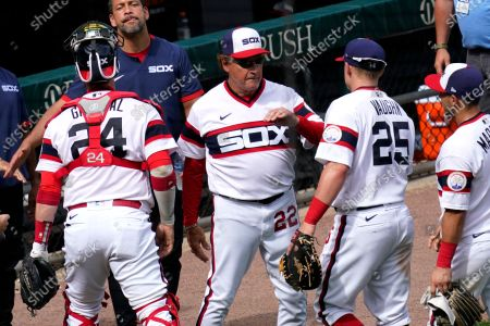 Chicago White Sox manager Tony La Russa (22) celebrates with his team after the Chicago White Sox defeated the Detroit Tigers in a baseball game in Chicago, . Tony La Russa is second on the managerial career wins list with 2, 764