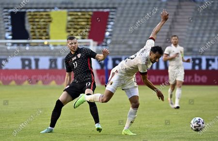 Croatia's Marcelo Brozovic and Belgium's Nacer Chadli pictured in action during a friendly game of the Belgian national soccer team Red Devils and Croatia national team, in Brussels, part of the preparation for the Euro2020 tournament Sunday 06 June 2021.