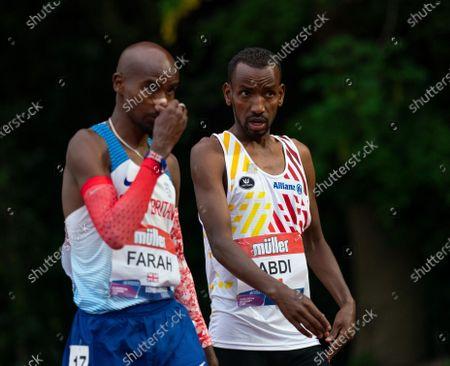 Bashir Abdi, team mate of Mo Farah before the race; Birmingham University Athletics Track, Birmingham, Midlands, England; European 10000 Metre Finals, British Olympic Trials 10000 Metre.