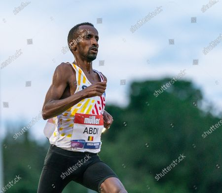 Bashir Abdi, training parter of Mo Farah finishes in second place and runs an Olympic Qualifying time; Birmingham University Athletics Track, Birmingham, Midlands, England; European 10000 Metre Finals, British Olympic Trials 10000 Metre.