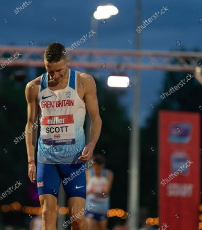 Marc Scott after beating Mo Farah to 1st place; Birmingham University Athletics Track, Birmingham, Midlands, England; European 10000 Metre Finals, British Olympic Trials 10000 Metre.