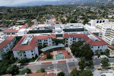 """By a drone shows an aerial view of the Santa Barbara Cottage Hospital, in Santa Barbara, Calif. The second baby for Prince Harry and Meghan is officially here: a healthy girl. A spokesperson said Sunday, June 6, 2021 that the couple welcomed their child Lilibet """"Lili"""" Diana Mountbatten-Windsor at 11:40 a.m. Friday at the California hospital"""