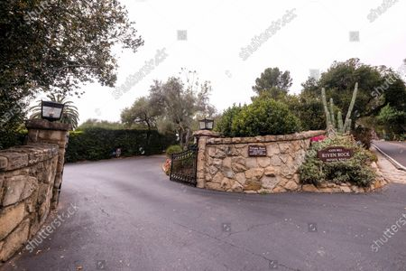 """View of the community gate of the home of Prince Harry The Duke of Sussex and Meghan Markle The Duchess of Sussex, in Montecito, Calif. A spokesperson said that the couple welcomed their child Lilibet """"Lili"""" Diana Mountbatten-Windsor at 11:40 a.m. Friday at the Santa Barbara Cottage Hospital"""