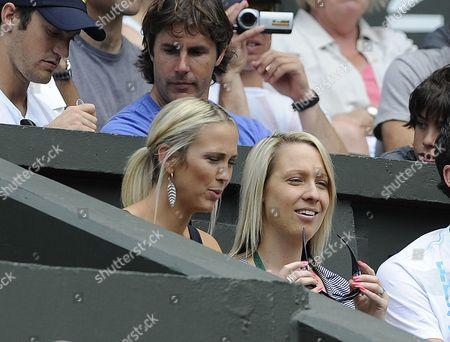Lleyton Hewitts Wife Rebecca Cartwright (left) Juan Martin Del Potro V Lleyton Hewitt Wimbledon Tennis Championships 2009 25/06/09
