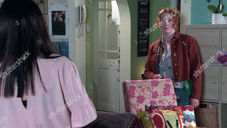 Coronation Street - Ep 10345 Monday 7th June 2021 - 2nd Ep Fiz is thrilled until Sarah reveals that it was Alina's idea. When Fiz Stape, as played by Jennie McAlpine, then calls at the salon flat to collect the girls, how will she react to Hope Stape's, as played by Isabella Flanagan, false eyelashes?
