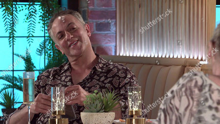 Coronation Street - Ep 10346 Wednesday 9th June 2021 - 1st Ep When Aadi pokes fun at Dev Alahan's, as played by Jimmi Harkishin, nonexistent love life, Bernie Winter, as played by Jane Hazlegrove, comes to his rescue and makes out they're off for brunch. Dev plays along but as the pair enjoy their pretend date, Dev suggests they go back to No.7 and continue their charade.