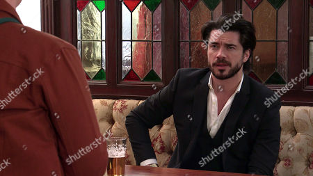 Coronation Street - Ep 10347 Wednesday 9th June 2021 - 2nd Ep Reading a message from the bank, a riled Fiz Stape, as played by Jennie McAlpine, approaches Adam Barlow, as played by Sam Robertson, revealing she needs his help.
