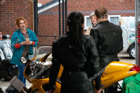 Coronation Street - Ep 10358 & Ep 10359 Wednesday 23rd June 2021 Tyrone Dobbs, as played by Alan Halsall, is forced to admit to Alina Pop, as played by Ruxandra Porojnicu, that he failed his motorbike test. Fiz Stape, as played by Jennie McAlpine, is highly amused.