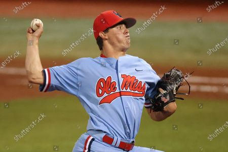 Ole Miss pitcher Brandon Johnson (37) during an NCAA Regional baseball game between Ole Miss and Southern Miss at Swayze Field in Oxford, MS