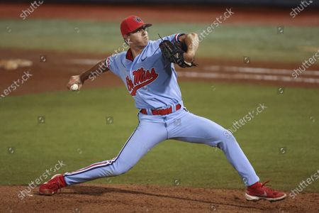 Ole Miss pitcher Brandon Johnson (37) comes in to pitch during an NCAA Regional baseball game between Ole Miss and Southern Miss at Swayze Field in Oxford, MS