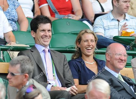 Tim And Lucy Henman Watching Mardy Fish V Novak Djokovic At The Wimbledon Tennis Championships 2009. 26/06/09