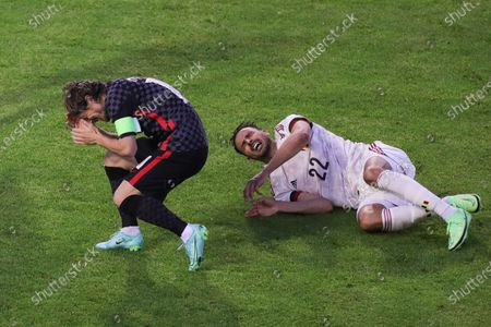 (210607) - BRUSSELS, June 7, 2021 (Xinhua) - Luka Modric of Croatia (L) and Nacer Chadli of Belgium react after a clash during a friendly match between Belgium and Croatia in King Baudouin Stadium in Brussels, Belgium, June 6, 2021. Belgium defeated Croatia by 1-0.